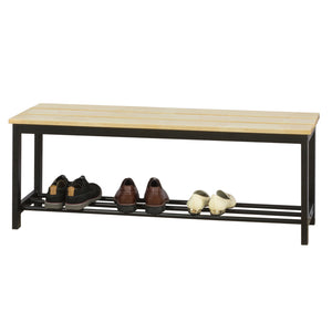 SoBuy FSR85-N, Shoe Rack Shoe Bench with Rubber Wood Seat, Hallway Shoe Bench Bedroom Bed End Side Bench
