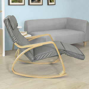 SoBuy Comfortable Relax Rocking Chair with Footrest Grey Cushion FST16-DG