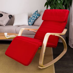 SoBuy Padded Rocking Chair with Adjustable Footrest Red, FST16-R, Red