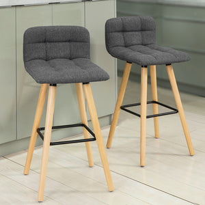 SoBuy Set of 2 Kitchen Breakfast Barstool with Fabric Padded Seat Dark Grey,FST50-DGx2