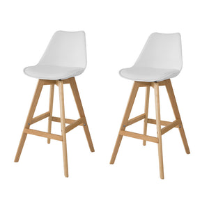 SoBuy® FST69-Wx2, Set of 2 Kitchen Breakfast Barstools, Bar Stools with PU Leather Padded Seat & Beech Wood Legs