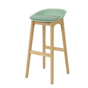 SoBuy FST78-GR, Kitchen Breakfast Barstool, Bar Stool with PP & PU Padded Seat and Oak Wood Legs