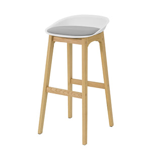 SoBuy FST78-W, Kitchen Breakfast Barstool, Bar Stool with PP & PU Padded Seat and Oak Wood Legs