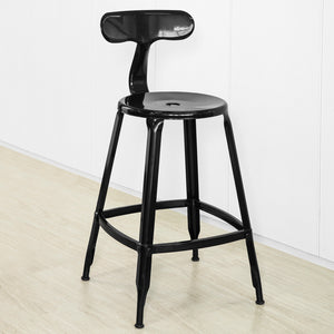 SoBuy FST80-SCH Industrial Design Heavy Duty Metal Bar Stool Kitchen High Chair with Backrest and Footrest - Black