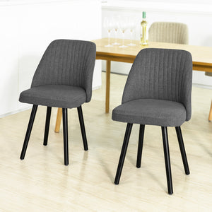 SoBuy FST84-HGx2 set of 2 dining room chair kitchen chair living room chair with backrest Chair group with seat made of linen