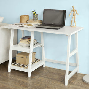 SoBuy Wood Home Office Computer Table with Shelves White, FWT16-W