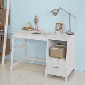 SoBuy Wood Computer Table with Side Storage Rack and Drawers,White,FWT38-W