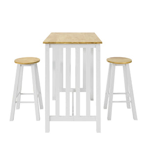 SoBuy Bar Set-Bar Table and 2 Stools, 3 Pieces Home Kitchen Breakfast Bar Set Furniture Dining Set, White & Natura,FWT65-WN