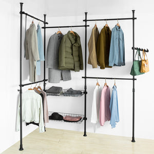 SoBuy KLS04-SCH, Adjustable Wardrobe Organiser Clothes Shelf System Hanging Rail Telescopic Storage Shelving, Black