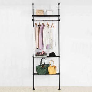 SoBuy KLS07-SCH, Adjustable Wardrobe Organiser Clothes Shelf System Hanging Rail Telescopic Clothes Storage Shelving, Black