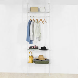 SoBuy KLS07-W, Adjustable Wardrobe Organiser Clothes Shelf System Hanging Rail Telescopic Clothes Storage Shelving, White