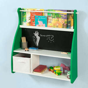 SoBuy KMB09-GR,Wall Mounted Children Kids Bookcase Storage Display Shelving Rack Wall Desk with Blackboard