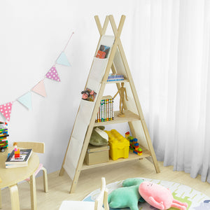 SoBuy Tent Shaped Children Kids Bookcase Book Shelf Toy Shelf Storage Display Shelving with 3 Shelves and 6 Pockets,KMB30-WN