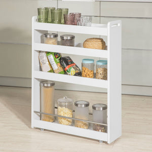 SoBuy White 4 Tiers Slide Out Storage Tower Rack on Wheels,NSR01-W