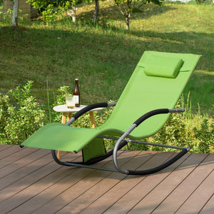 SoBuy OGS28-GR, Outdoor Garden Rocking Chair Relaxing Chair Sun Lounger with Side Bag, Green
