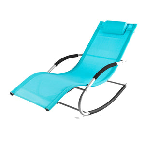SoBuy Rocking Garden Sunlounger Chair with Footrest,OGS28-HB,Blue
