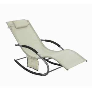 SoBuy Garden Rocking Deck Chair Recliners with Footrest,Beige,OGS28-MI