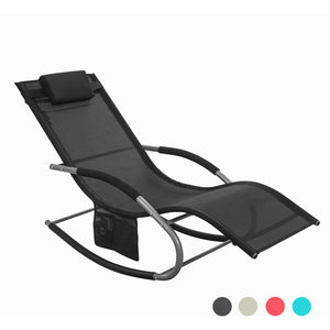 SoBuy Garden Rocking Deck Chair Recliners with Footrest,Black,OGS28-SCH