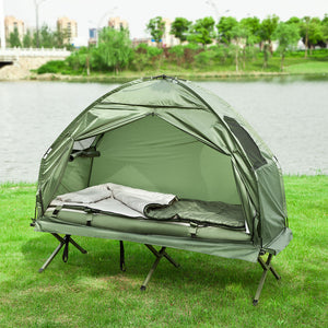 SoBuy OGS32-GR, 1 Person Foldable Camping Tent with Bed, Air Mattress, Sleeping Bag and Carrying Bag, Camping Bed