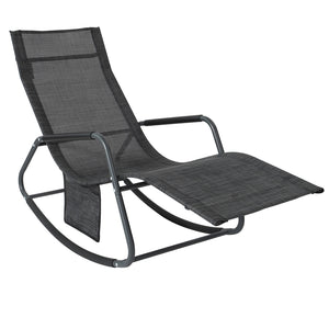 SoBuy OGS47-MS, Outdoor Garden Rocking Chair Relaxing Chair Recliner Sun Lounger with Side Bag