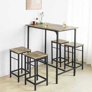 SoBuy Set-1 Bar Table and 4 Stools,Breakfast Bar Set Furniture Dining Set,OGT11-XL