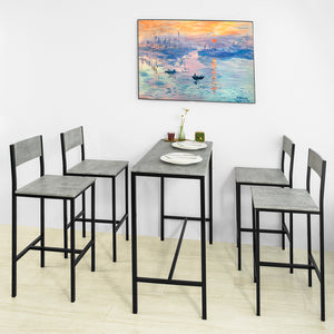 SoBuy OGT14-HG,bar table set 5-piece seating group dining table bistro table with 4 stools gray