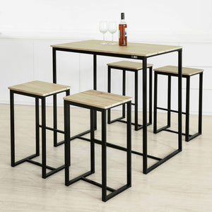 SoBuy Bar Set-1 Bar Table and 4 Stools, Home Kitchen Breakfast Bar Set Furniture Dining Set OGT15-N