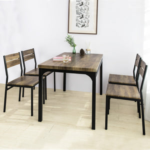 SoBuy OGT28-N + FST72-Nx4 Dining Table with 4 Chairs Set Table and 4 Industrial Style Chairs for Kitchen Dining Living Room