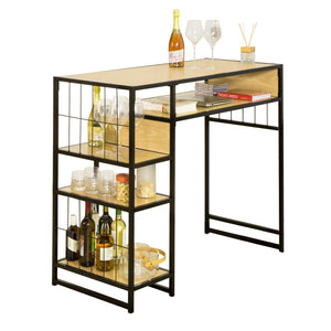 SoBuy OGT39-P, Kitchen Breakfast Bar Table Dining Table Coffee Bar with Storage Shelves