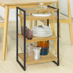 SoBuy STR05-K-N Storage Shelf Bathroom Shelf Kitchen Bamboo and Metal 3 Tier Standing Shelf