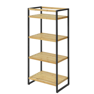 SoBuy STR05-N Storage Shelf Bathroom Shelf Kitchen Bamboo and Metal 4 Tier Standing Shelf