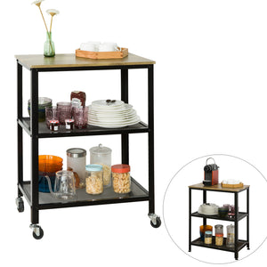 SoBuy SVW04-N, Modern Industrial Design 3 Tiers Serving Trolley on Wheels, Home Kitchen Trolley