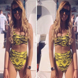 Push Up High Waisted Snake Print One Shoulder Bikini