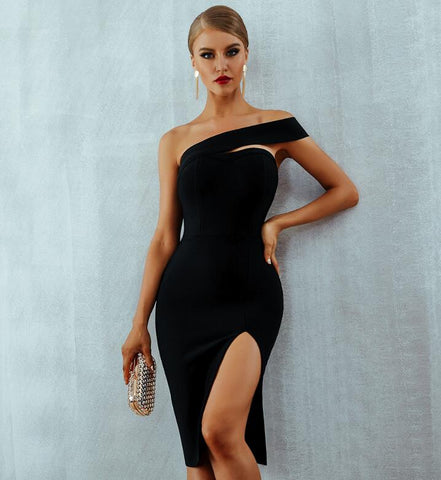 Bodycon Sexy Elegant One Shoulder Midi Party Dress - Fly and Chic