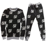Mens/Womens Cartoon 100 EMOJI Printed 3D Sweatshirt & jogger Pants