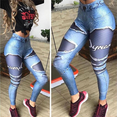 Fake Denim Blue Mesh Leggings Elastic Workout Pants - Fly and Chic