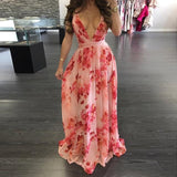 Sexy Maxi Boho Style Print Party V Neck Backless Long Dress