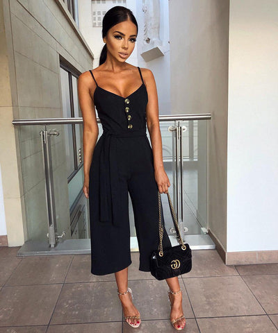 Sexy Rompers Buttons Casual Wide Leg Pant Jumpsuit Plus Size