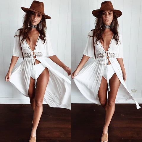 See Through Crochet Lace White Beach Bohemian Dress or Cover Up