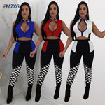 Sexy 2 Piece Set Women Long Sleeve Bodysuit Crop Top+Pants Two Piece Set - Fly and Chic