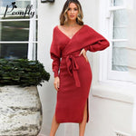 Knitted Sweater Long Dress With Belt Vestidos Long Sleeve Sexy V Neck Split - Fly and Chic