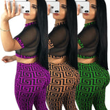 See through Sexy Two Piece Set Women Transparent Mesh Crop Top and Pants Suit Party - Fly and Chic