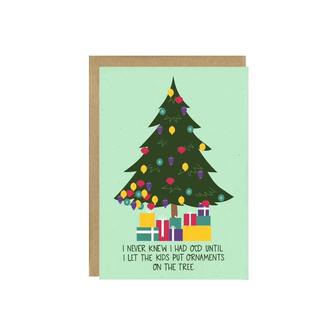 Holiday Greeting Card with Christmas tree saying