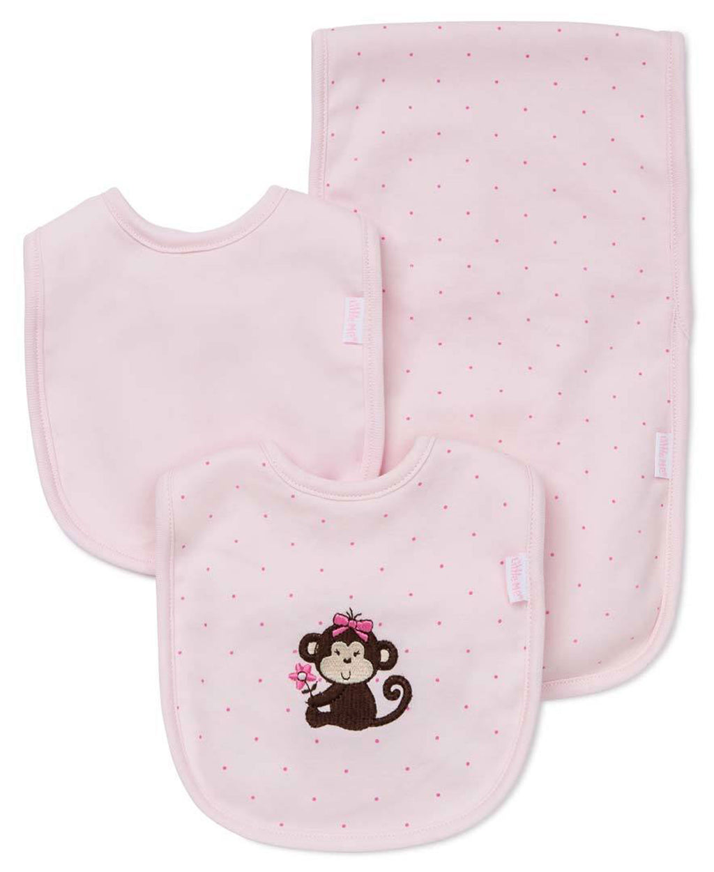 Pretty Monkey Bib & Burp Set