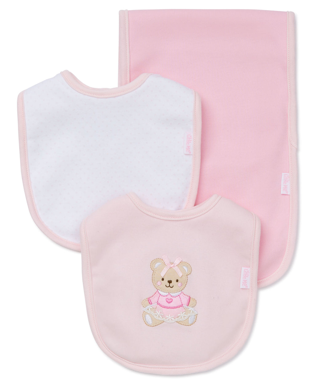 Pink Bear Bib & Burp Set