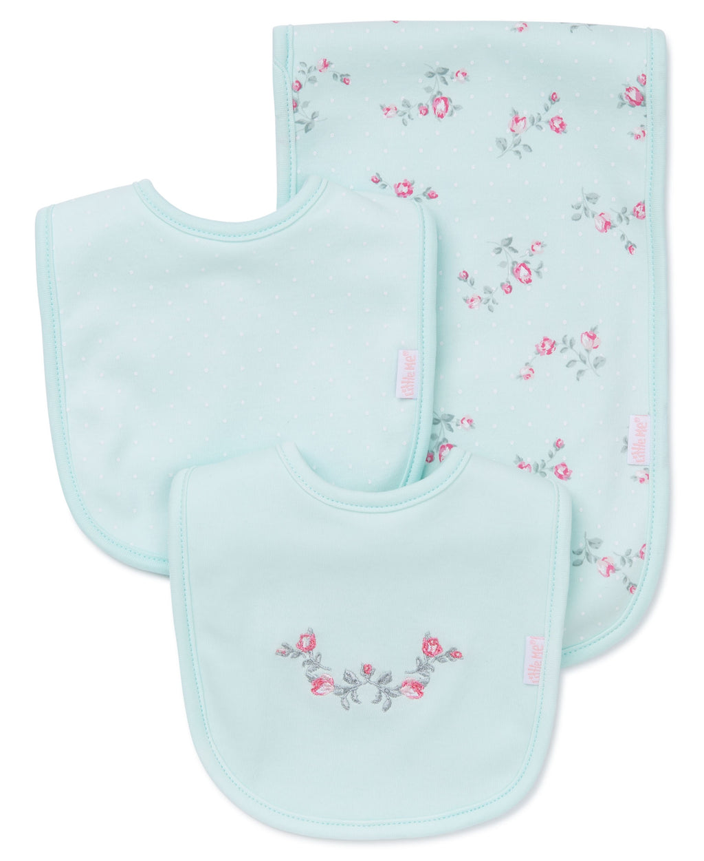 Floral Spray Bib & Burp Set