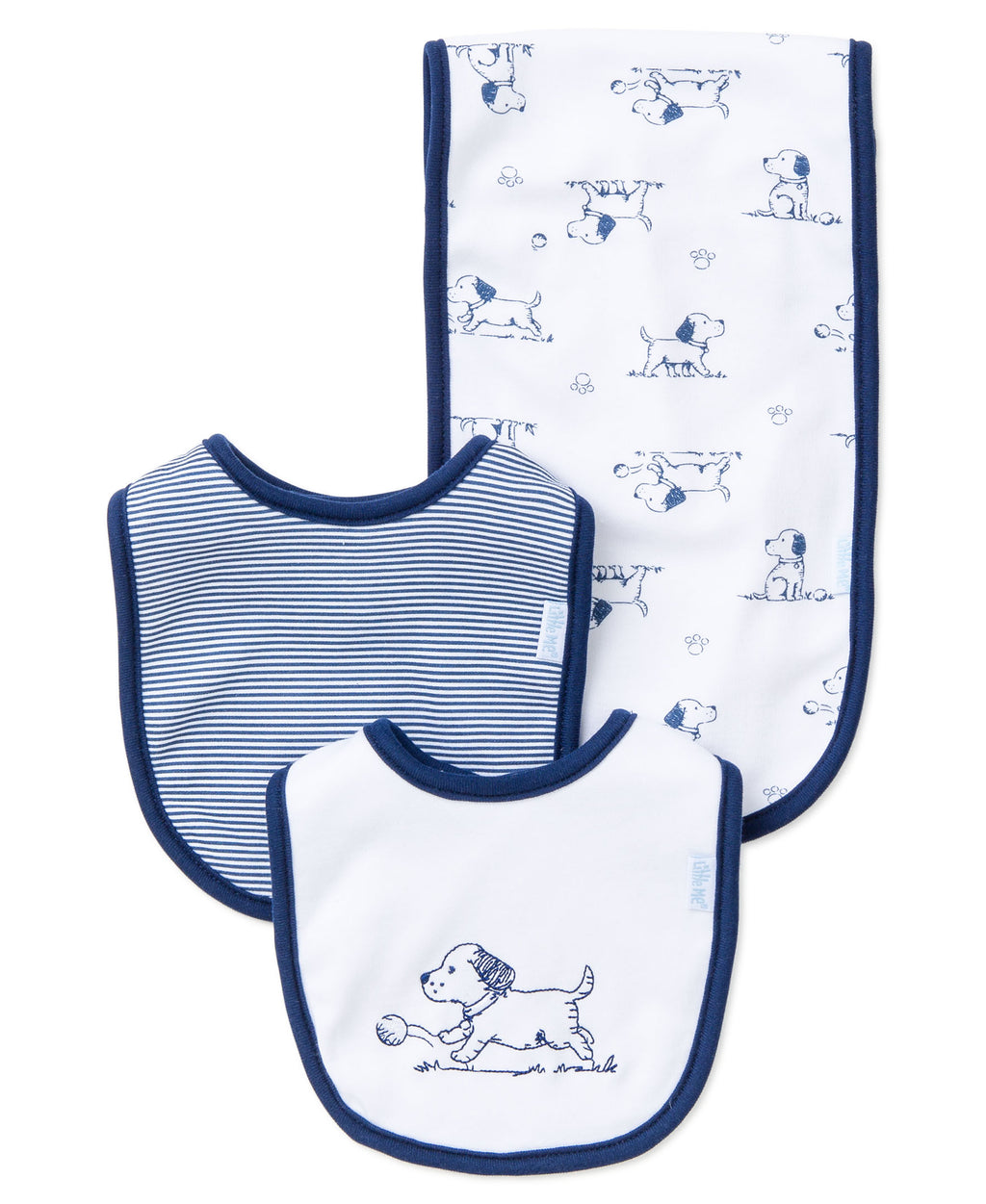 Puppy Toile Bib & Burp Set