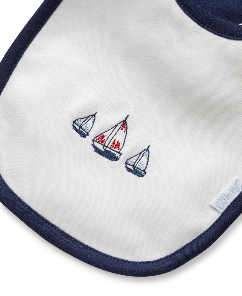 Sailboats Bib & Burp Set - Little Me