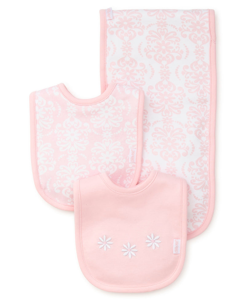 Damask Scroll Bib & Burp Set