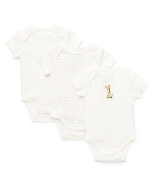 Little Me Infant Baby Girl Boy Unisex 3 Pack Bodysuits Pink Yellow Blue White